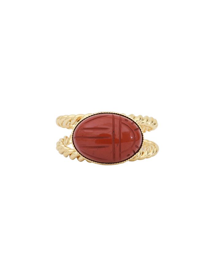 Bague torsadée scarabée jaspe rouge