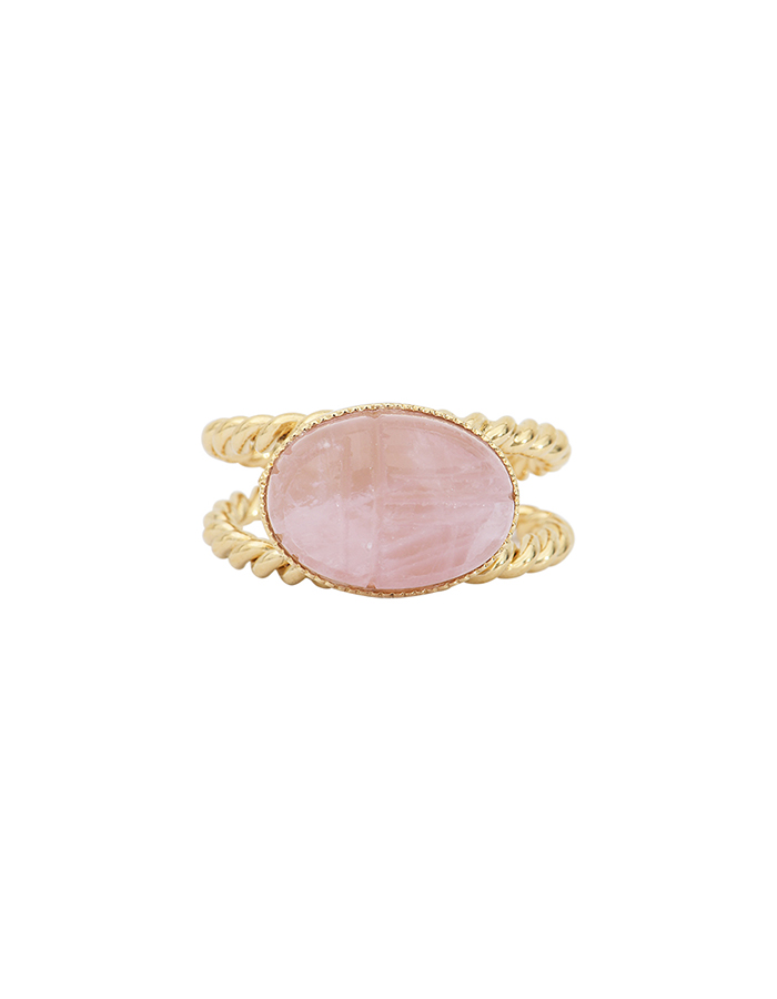 Bague torsade scarabée quartz rose RIVA