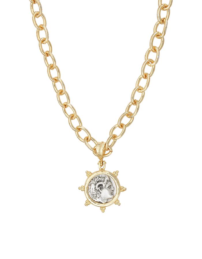 Collier médaille argent et or MURANO