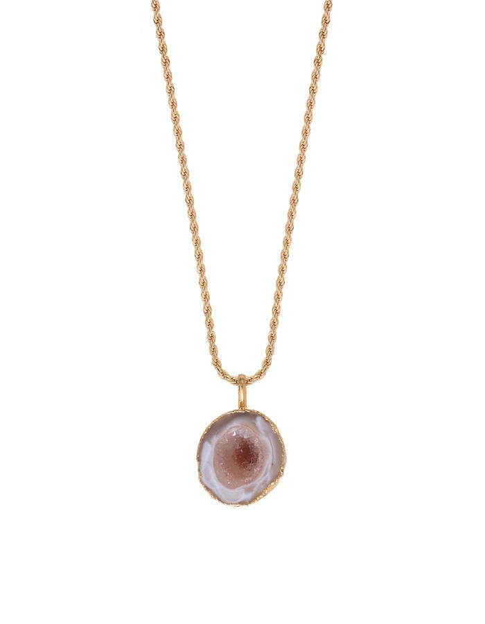 Collier pierre taillée brute quartz rose