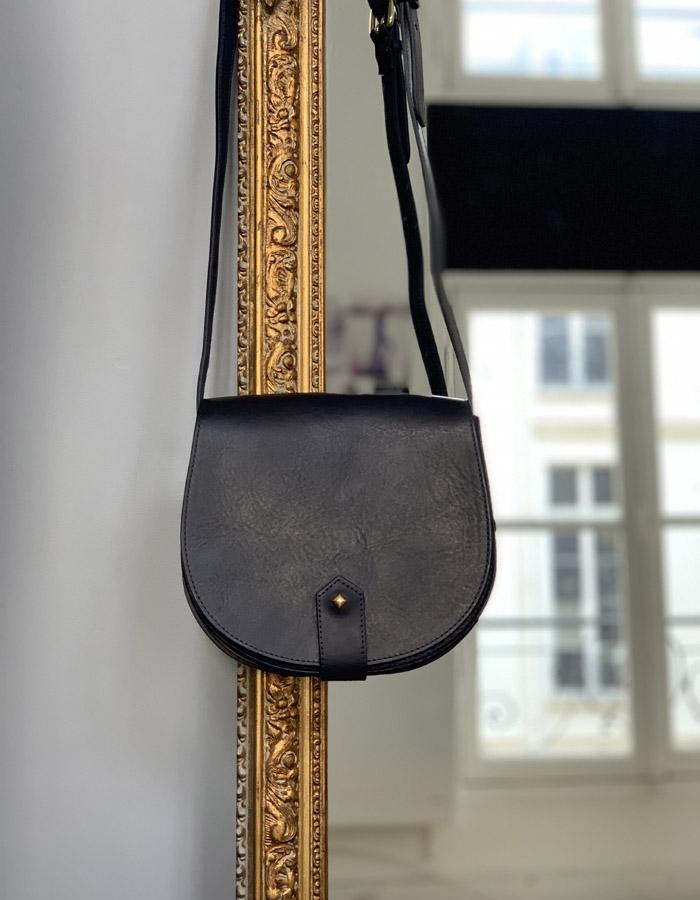 LE MAMOURETTE BLEU MARINE ET COGNAC navy blue and cognac bag