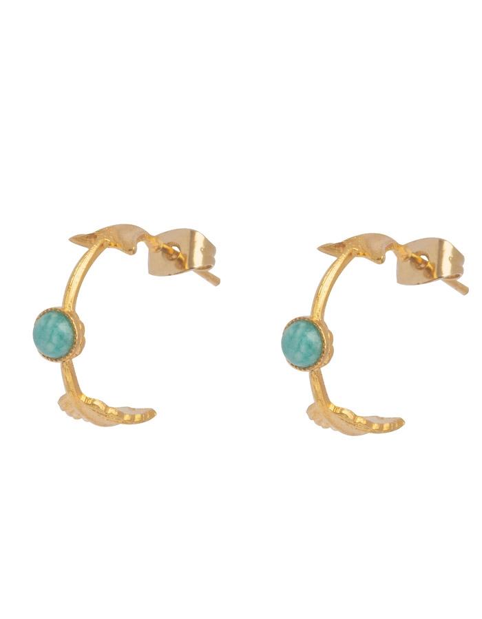 PHUKET small beaded hoop amazonite arrow earrings