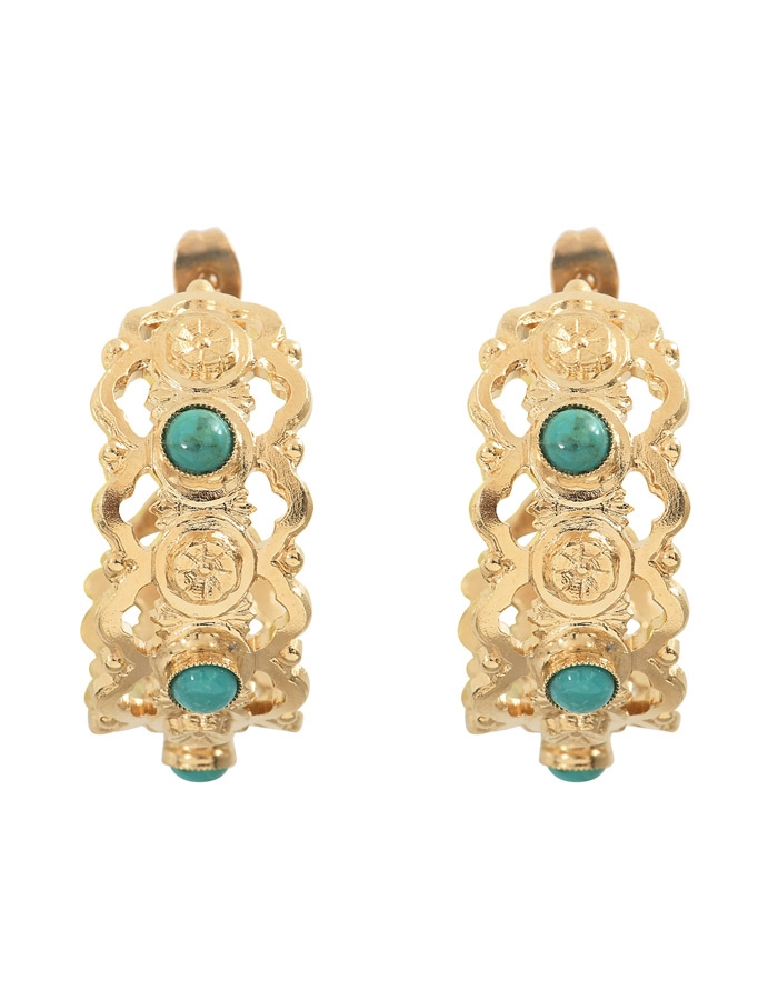 NARCISSE turquoise hoop earrings