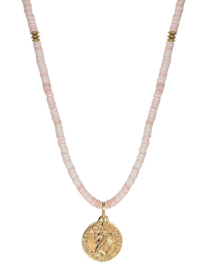 MAJORELLE peach coral medal long necklace