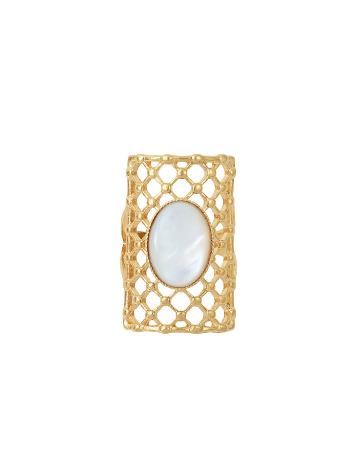 DIANE white mother of pearl honey ring