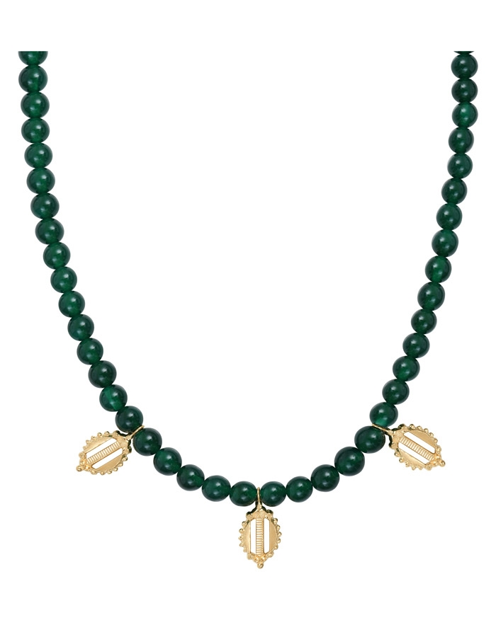 Collier pampilles agate verte DONATELLO