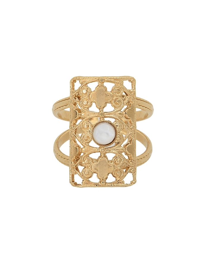 LOTUS white mother of pearl ring