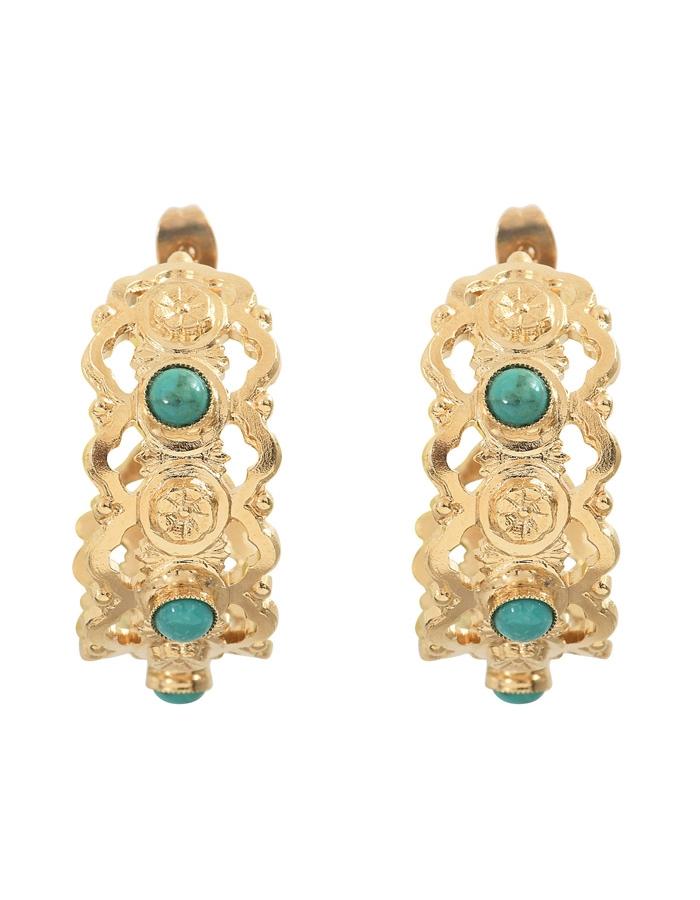 Boucles d'oreilles créoles cabochons turquoise NARCISSE